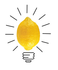 Inspiration concept yellow lemon as light bulb metaphor for good