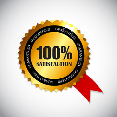 100 % Satisfaction Golden Label Vector Illustration