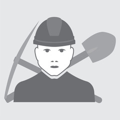 vector worker shovel with shovel and pickaxe