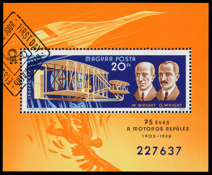 Stamp printed in Hungary shows The Wright brothers