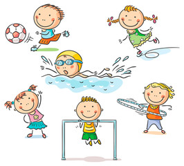 Fototapete - Kids and their sports activities