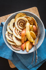 Cinnamon Roll Pancakes with Caramelized Apples