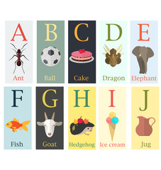 Colorful cards with alphabet and image of the first letter