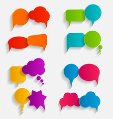 Flat Speech Bubbles with Long Shadows  Vector Illustration