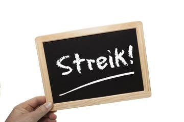 Schild Streik