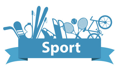 Sports and game equipment on a blue ribbon