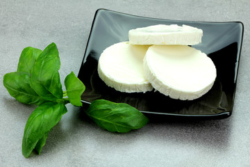 white cheese with basil