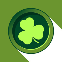 vector button with light green shamrock