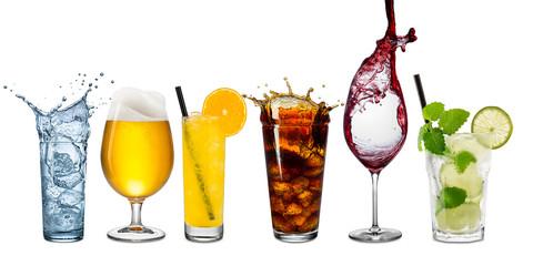 Fototapeta row of various beverages obraz
