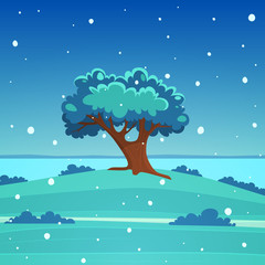 Winter cartoon landscape