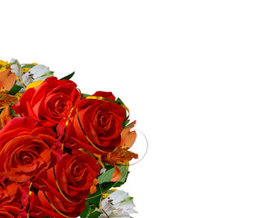Bouquet with red roses isolated on white