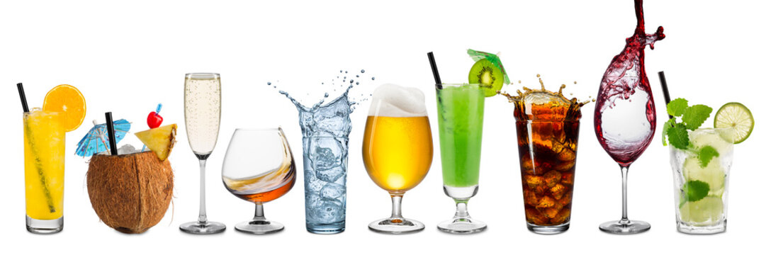 row of various beverages