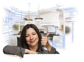 Hispanic Woman with Thumbs Up, Kitchen Drawing and Photo Behind