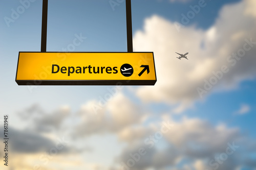 Wall mural Check in, Airport Departure & Arrival information board sign