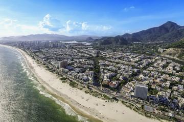 Rio de Janeiro, Barra da Tijuca with sunshine aerial view