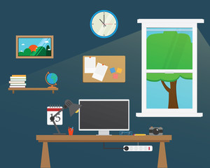 Vector of Office workstation room.Creative