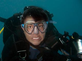 Wall Mural - crazy diver underwater portrait