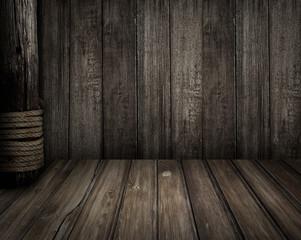 Türaufkleber Schiff Old wooden scene as pirates theme background