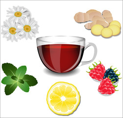 A cup of tea and various ingredients: lemon, ginger, chamomile,
