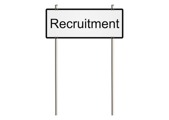 Recruitment. Road sign. Raster.