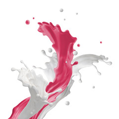 Wall Mural - mixed milk drink splash, dynamic splashing isolated on white