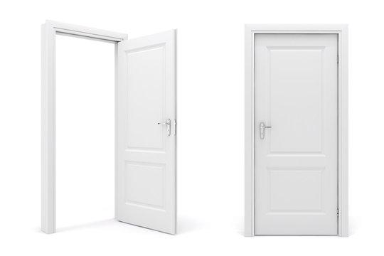 3d white door on white background
