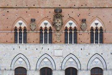 Fototapete - Facade of Piazza del Campo in Siena, Tuscany, Italy