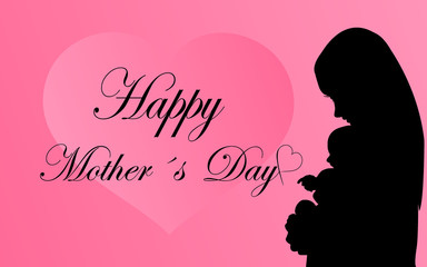 Greeting card with silhouette mother with baby