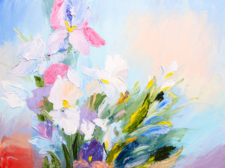 oil painting - abstract bouquet of spring flowers, colorful wate