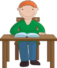 Seated smiling boy with a book
