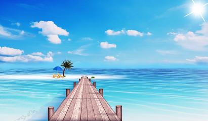 weißer Strand mit Steg in der Südsee