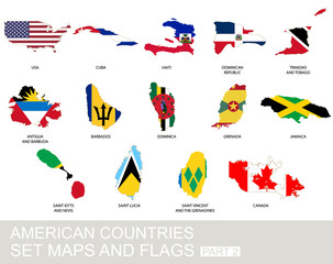 American countries set, maps and flags