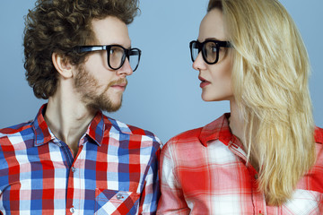 Portrait of gorgeous blond fashion man and woman (couple) in ca