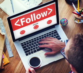 Folllow Connection Social Networking Media Concept
