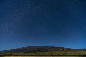 Starry sky from Daniel K Inouye highway of Hawaii, USA.