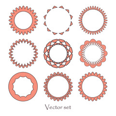 Vector set of geometric design elements. Color option