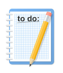 Checkered notebook and pencil. To do list. Vector illustration