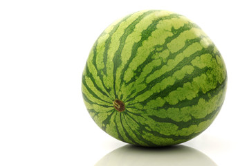 freshly harvested watermelon on a white background