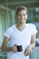 Happy Man Drinking Coffee