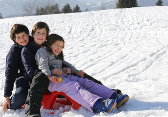 three brothers on the sled in the snow in winter