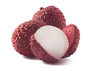 Three lychee composition isolated on white background