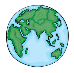 Hand drawn cute cartoon earth asian. Vector