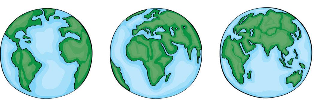 Hand drawn cute cartoon earth set. Vector