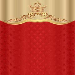 red background with crown and stars