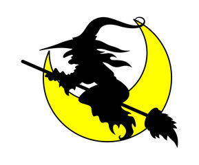 Witch Flying - Halloween Vector Illustration