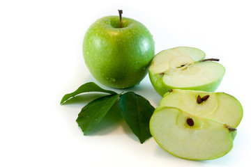 Apple, leaves and slices