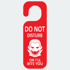 Vector tag with vampire icon. Do not disturb or I'll bite you