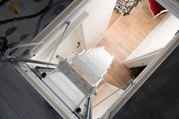 white attic stairs