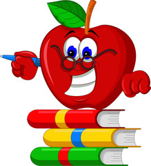 Books  with apple cartoon presenting