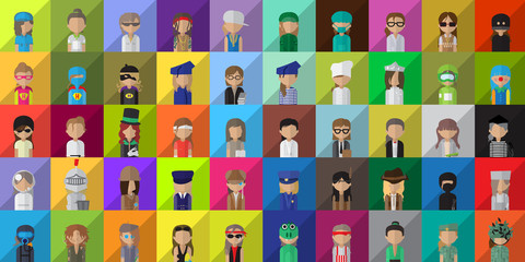 Flat People Icons, Different Occupation: Doctor, Police, Knight, Indian, Athlete, Professor, Astronaut, Waiter, Explorer, Painter Isolated On Mosaic Background - Vector Illustration, Graphic Design